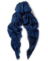 dunkelblauer bedruckter Baumwollschal von Alexander McQueen