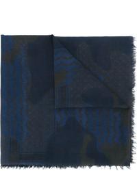 dunkelblauer bedruckter Baumwollschal von Neil Barrett