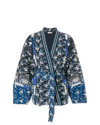 dunkelblauer bedruckter Kimono