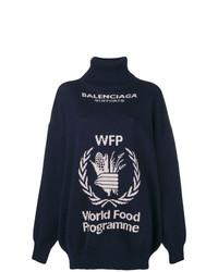 dunkelblauer bedruckter Oversize Pullover von Balenciaga