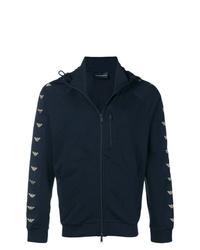dunkelblauer bedruckter Pullover mit einem Kapuze von Emporio Armani