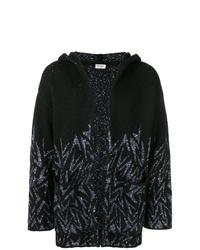 dunkelblauer bedruckter Pullover mit einem Kapuze von Saint Laurent