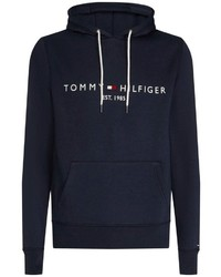 dunkelblauer bedruckter Pullover mit einem Kapuze von Tommy Hilfiger