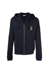 dunkelblauer bedruckter Pullover mit einem Kapuze von Versace Collection