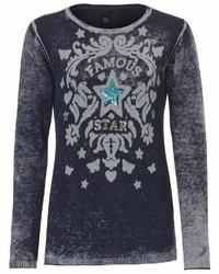 dunkelblauer bedruckter Pullover mit einem Rundhalsausschnitt von B.C. BEST CONNECTIONS by Heine