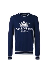 dunkelblauer bedruckter Pullover mit einem Rundhalsausschnitt von Dolce & Gabbana