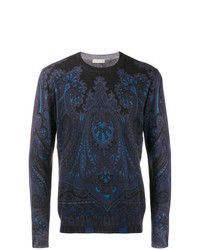 dunkelblauer bedruckter Pullover mit einem Rundhalsausschnitt von Etro