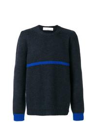 dunkelblauer bedruckter Pullover mit einem Rundhalsausschnitt von Golden Goose Deluxe Brand