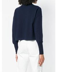 dunkelblauer bedruckter Pullover mit einem Rundhalsausschnitt von Love Moschino