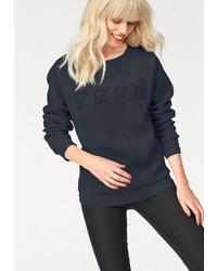 dunkelblauer bedruckter Pullover mit einem Rundhalsausschnitt von Pepe Jeans