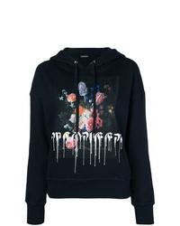 dunkelblauer bedruckter Pullover mit einer Kapuze von Alexander McQueen