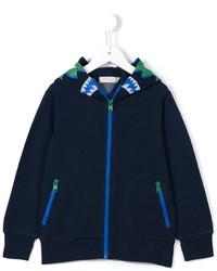 dunkelblauer bedruckter Pullover mit einer Kapuze von Stella McCartney