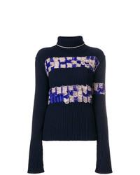 dunkelblauer bedruckter Rollkragenpullover von Calvin Klein 205W39nyc
