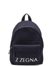 dunkelblauer bedruckter Rucksack von Z Zegna
