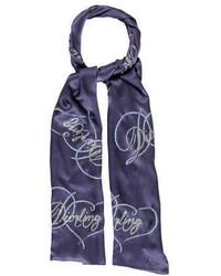 dunkelblauer bedruckter Schal