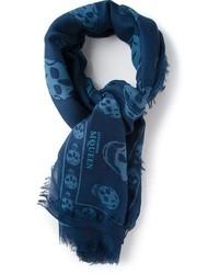 dunkelblauer bedruckter Schal von Alexander McQueen