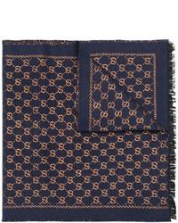 dunkelblauer bedruckter Schal von Gucci