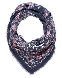 dunkelblauer bedruckter Schal von Pieces