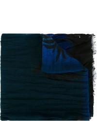 dunkelblauer bedruckter Schal von Saint Laurent