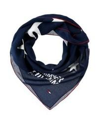 dunkelblauer bedruckter Schal von Tommy Hilfiger