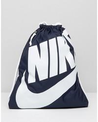 dunkelblauer bedruckter Segeltuch Rucksack von Nike