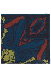 dunkelblauer bedruckter Seideschal von Etro