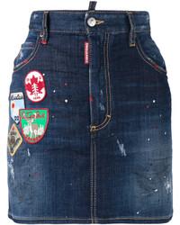 dunkelblauer bestickter Jeans Minirock von Dsquared2