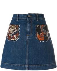 dunkelblauer bestickter Jeans Minirock von Stella McCartney