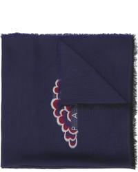 dunkelblauer bestickter Schal von Kenzo