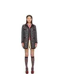 dunkelblauer bestickter Tweed Mantel von Gucci