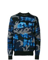 dunkelblauer Camouflage Pullover mit einem Rundhalsausschnitt von Diesel