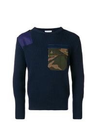 dunkelblauer Camouflage Pullover mit einem Rundhalsausschnitt von Gosha Rubchinskiy