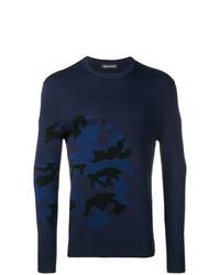 dunkelblauer Camouflage Pullover mit einem Rundhalsausschnitt von Neil Barrett