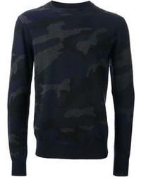 dunkelblauer Camouflage Pullover mit einem Rundhalsausschnitt von Valentino