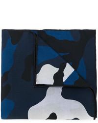 dunkelblauer Camouflage Seideschal von Valentino