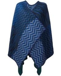 dunkelblauer Cape Mantel mit Chevron-Muster von Missoni