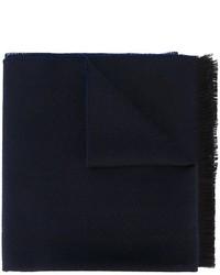 dunkelblauer Wollschal mit Chevron-Muster von Z Zegna