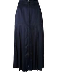 dunkelblauer Midirock aus Seide mit Falten von Fendi