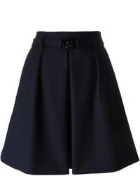 dunkelblauer Wollskaterrock mit Falten von Kenzo