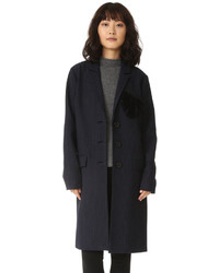 dunkelblauer flauschiger Mantel