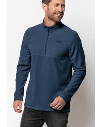 dunkelblauer Fleece-Pullover mit einem Reißverschluss am Kragen von Jack Wolfskin