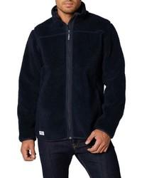 dunkelblauer Fleece-Pullover mit einem Reißverschluß