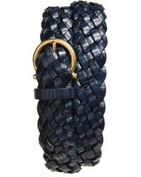 dunkelblauer geflochtener Ledergürtel