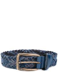 dunkelblauer geflochtener Ledergürtel von Etro