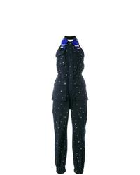 dunkelblauer gepunkteter Jumpsuit von Miu Miu