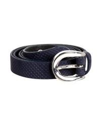 dunkelblauer gepunkteter Ledergürtel von Tom Tailor