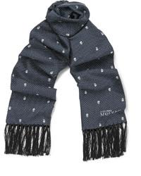dunkelblauer gepunkteter Schal von Alexander McQueen