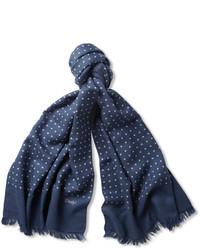 dunkelblauer gepunkteter Schal von Drakes