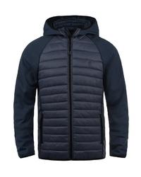 dunkelblauer gesteppter Pullover mit einem Kapuze von BLEND