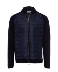 dunkelblauer gesteppter Pullover mit einem Reißverschluß von Brax